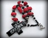 Black and Red nugget necklace with animal print cross pendant, cowgirl, western, rodeo necklace, zebra print