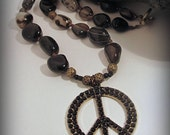 Chunky stone necklace, rhinestone peace sign, black, antique brass, cowgirl, rodeo, western, horse