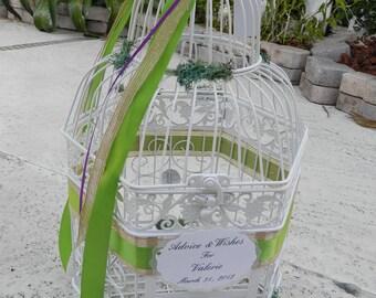 Birdcage Card Box, Wedding Card Holder. Peacock colors, Garden theme