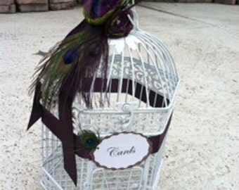 Birdcage Card Holder in White or Black with Stunning Peacock Feathers