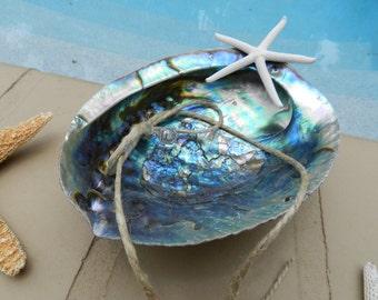 Abalone Seashell Ring Bearer Pillow Alternative - Beach Theme