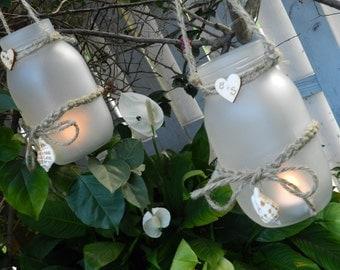 Nautical, Beach Theme Jar Tealight Holders, Coastal Decor - Set of 2