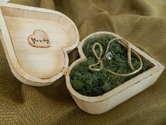 Rustic Ring Bearer Heart Box. Ring box