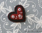Hand Embroidered Beaded Wool Felt Heart Brooch Lapel Pin - a Gift for All Occasions - Flowers on Dark Red Cranberry Heart - Black background