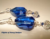 Blue Facetted Glass Earrings