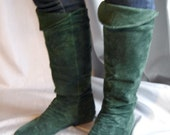 Forest Green Suede Pirate Boots