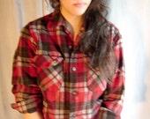 1960s Pendleton brown, red, gray plaid wool shirt.  Small.