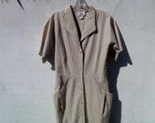 Vintage 80's Khaki Button-Down Safari Dress by Wild Dress Size 6