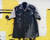Vintage Military-Style Black Button-Down Shirt with Shoulder Straps and Short Sleeves Men's Large