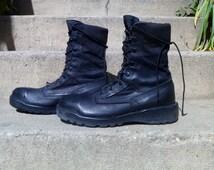 Vintage Army Combat Boots Black Lace-Up Trooper by Belleville Shoes Men's Size 9
