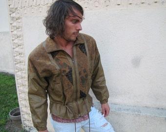 Vintage Jay Jacobs 80's Brown Leather Jacket with Multi-Print Boho Suede Panels Men's Medium