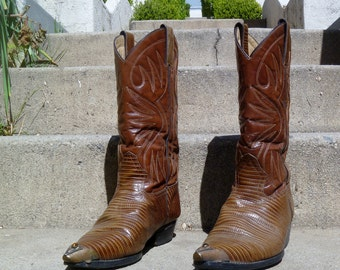 Vintage Snakeskin Brown Leather Cowboy Boots with Pointed Brass Toe and Polished Stone Inset by Cactus Men's Size 9