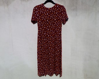 Vintage 80's Hand-Made Maroon Floral Crumpled Rayon Dress with Short Sleeves Women's Size XS