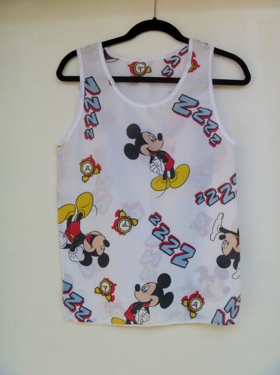 Mickey Mouse Alarm Clock Sleepy Head Printed Tank Top from Vintage Disney Bed Sheets original by Repose