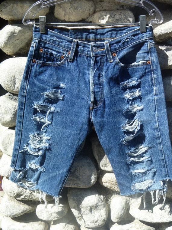 Vintage Destroyed Denim Levi's Cut-Off Jean Shorts Waist 29