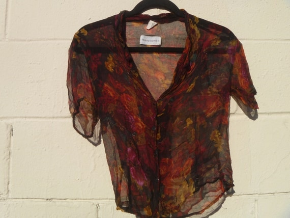 Vintage 1980's Sheer Floral Button Down Blouse Short Sleeved Women's Small