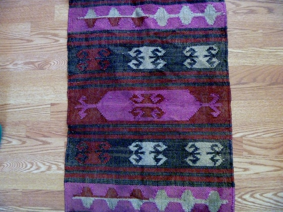 Vintage Southwestern Indian Navajo Woven Straw Throw Rug for Hallway with Tassels