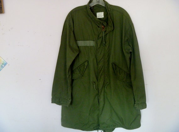 Vintage Cold War Army Green Parka for Extreme Cold Weather Calf Length Men's Size Large