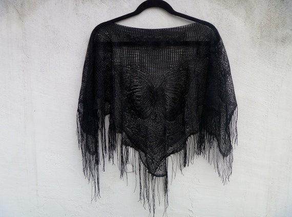 SALE Vintage 1980's Lace Knit Fringe Shawl See Through Sheer with Butterfly Design One Size Fits All