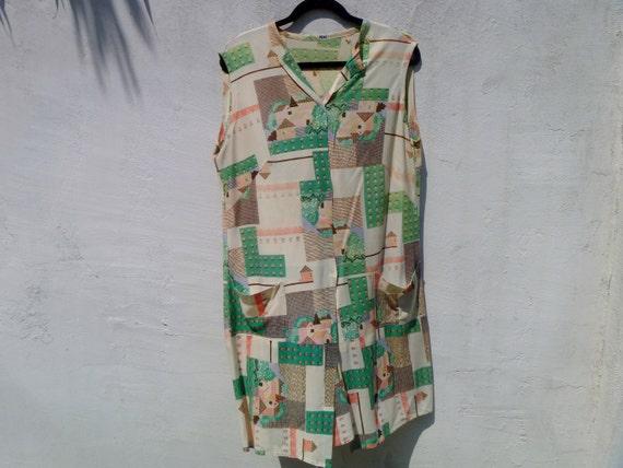 Vintage 1970's Pixelated Farmhouse Print Button-Down Maxi Dress Women's Extra Large