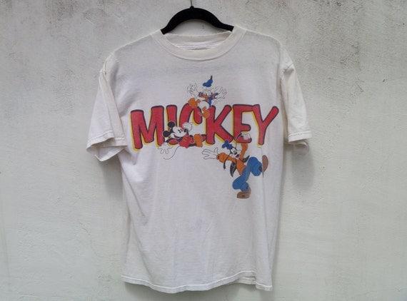 Vintage 90's Disney Graphic T Shirt with Mickey, Donald, and Goofy Men's Size Medium