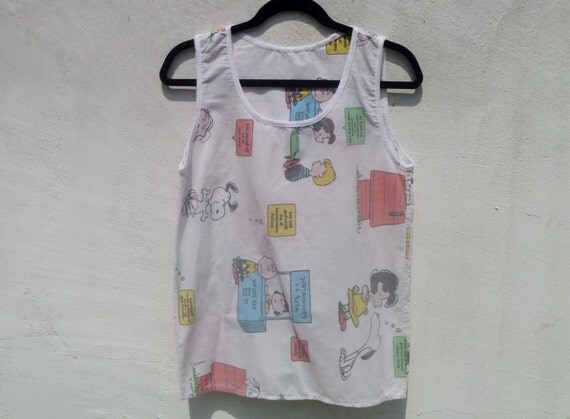 Original by Repose Tank Top Made out of Vintage 80's Peanuts Charlie Brown Cartoon Bed Sheets