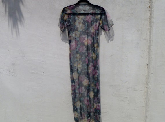 Stunning Vintage 1980's Sheer Floral Gown Pullover Dress Floor-Length with Short Sleeves