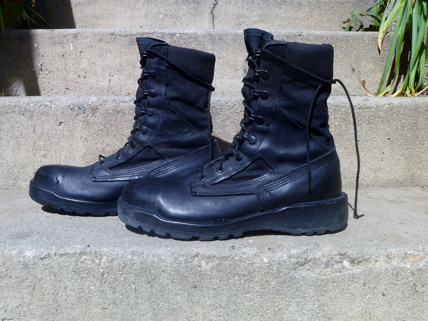 Vintage Army Combat Boots Black Lace Up Trooper By Belleville