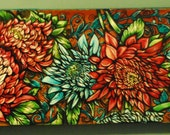 Tattoo home decor Flowers and Lace Art Nouveau Abstract red Original Oil Painting on wood Chrysanthemums