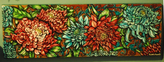 Items similar to tattoo home decor flowers and lace art for Art nouveau decoration ameublement