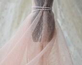 Fleshcolor Pink Dots Soft Lace Trim 140cm-wide 3yards