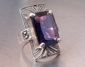 Vintage Art Deco Inspired Sterling Silver Ring Purple Stone Size 7-1/2
