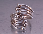Vintage Abstract Modernist Industrial Sterling Silver Ring Size 8