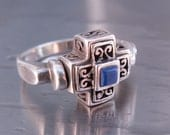 Vintage Spinner Ring Blue Lapis Gothic Cross Size 7-1/2