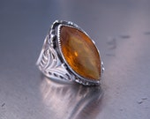 RESERVED  FOR BROOKE Antique Ring Art Nouveau Vintage Sterling Silver Amber Yellow Brown Size 6-1/2