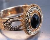 RESERVED RESERVED Vintage Bracelet Bangle Goldtone Black Onyx Hinged Embellished
