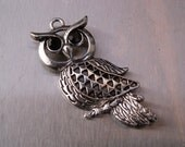 CLEARANCE Vintage Owl Pendant Silvertone Onyx Large Necklace Black