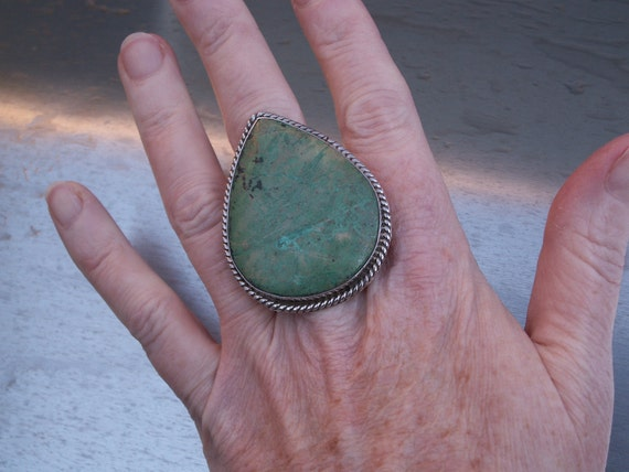 Vintage Ring Sterling Silver Mexican Mexico Size 9 Blue Green