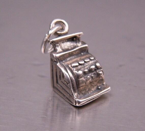 Vintage Sterling Silver Charm Bracelet Pendant Cash Register Miniature Adorable