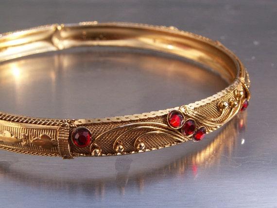 Vintage Bracelet Bangle Goldtone Red Rhinestones  Mid Eastern Moroccan Style Ornate Engraved