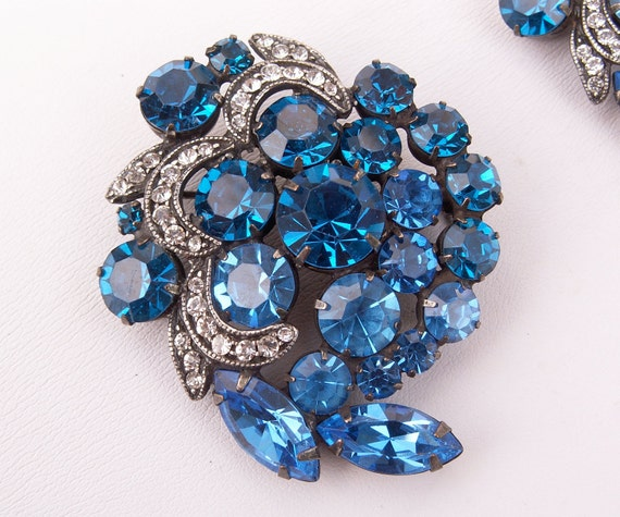 Vintage Brooch WEISS Pair Blue Rhinestone Mad Men Pins