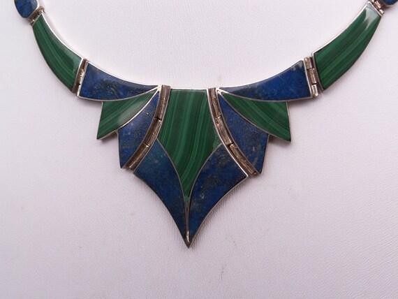 Vintage Parure Set 970 Silver Necklace Bracelet Earring Set Chile Blue Lapis Green Malachite