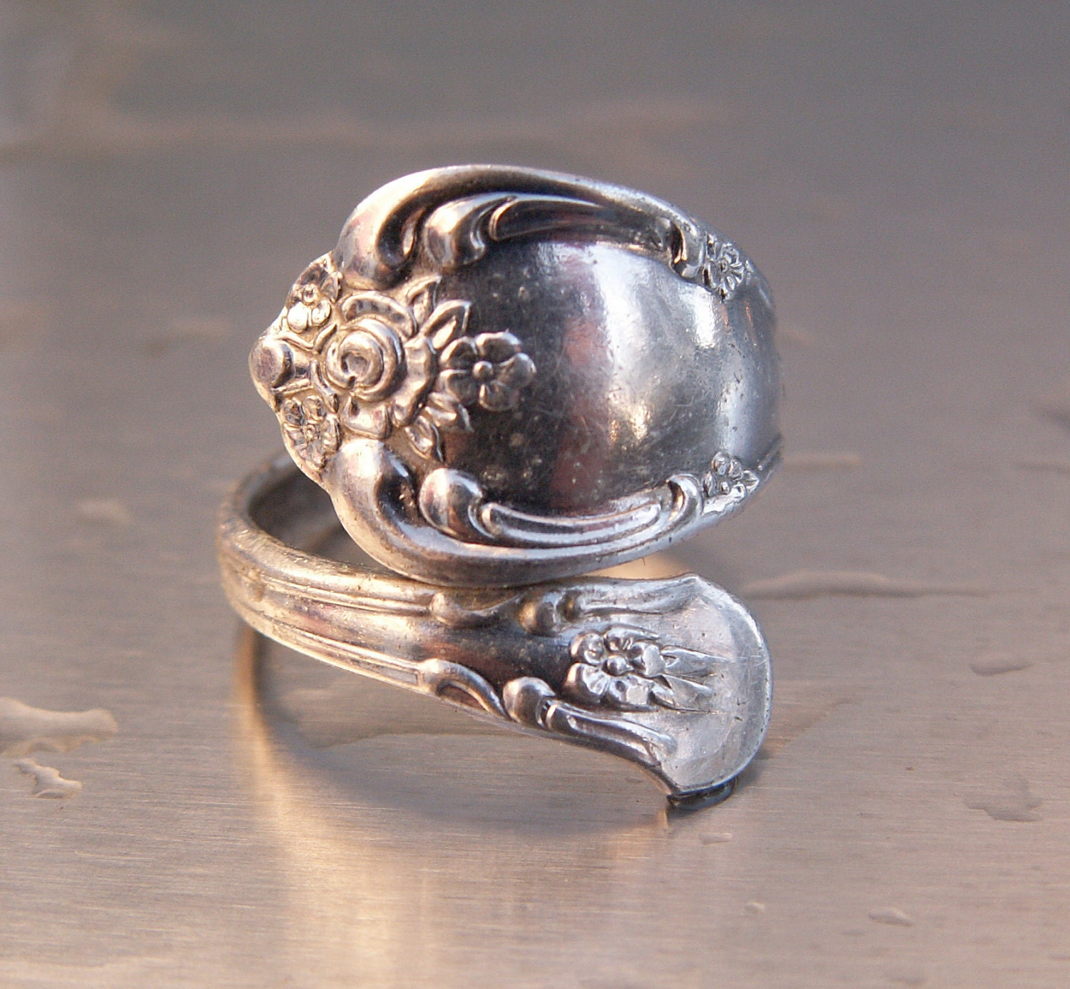 Vintage Ring Silver Oneida Spoon Ring Wm A Rogers Design
