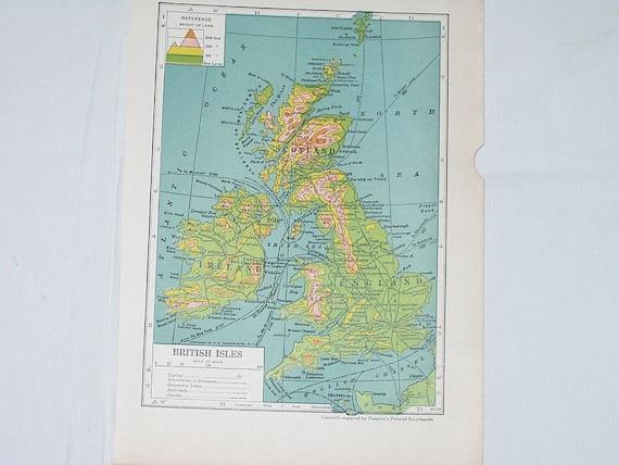 Vintage Map  British Isles England Ireland Scotland  Book Plate Print 7X10 Page 40s 1943