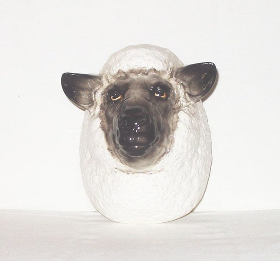 Vintage Sheep Head Wall Pocket Wall Hanging Planter Ceramic