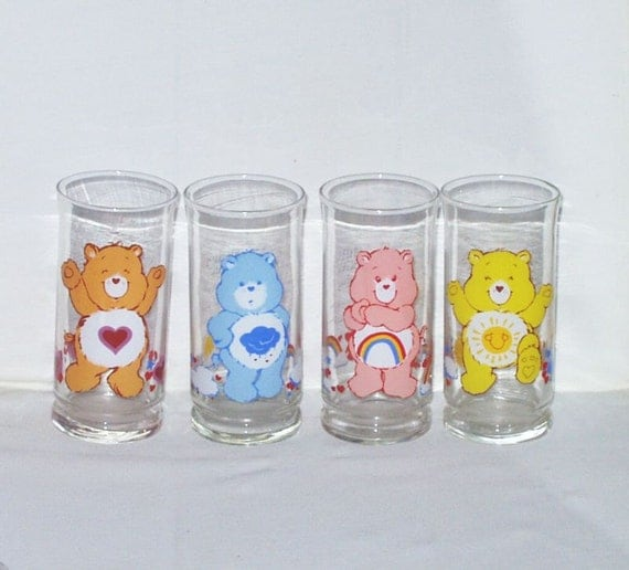 Vintage Care Bears Glass Collectible Drinking By