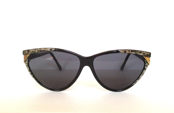 Vintage retro sunglasses shades black and gold made in Germany