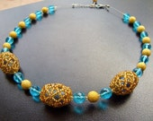 Beaded Bead Necklace, Bright Gold Beaded Bead Necklace with Gold Plated Stardust Round Spacer Beads and Turquoise Crystals, Handmade Jewelry