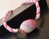 Pink Beaded Ball Necklace, Pinky Easter Egg on Beaded Crochet Necklace, Statement jewelry, Pink Accessories, Seed Beads Jewelry, Easter Gift