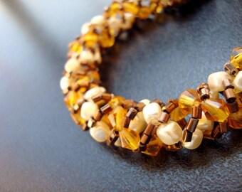 Spiral Stitch Bracelet, Caramel Bracelet, Peach and Cream Spiral Stitch Bracelet, Beadwoven Bracelet